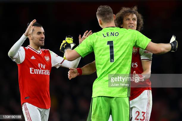 Dani Ceballos David Luiz and Bernd Leno of Arsenal celebrate victory during the Premier League match between Arsenal FC and Everton FC at Emirates...