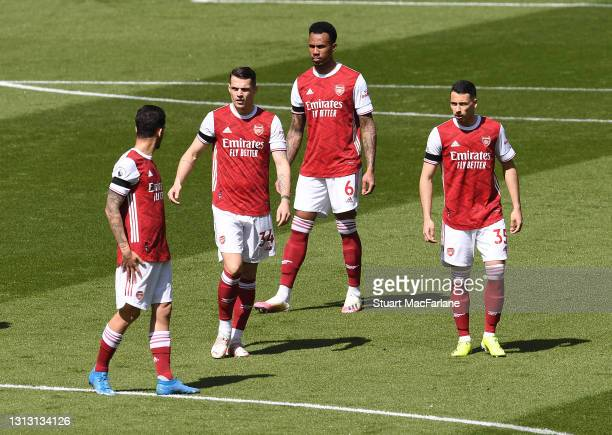 Dani Ceballos, Granit Xhaka, Gabriel and Gabriel Martinelli of Arsenal before the Premier League match between Arsenal and Fulham at Emirates Stadium...
