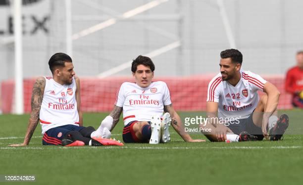 Dani Ceballos Hector Bellerin and Pablo Mari of Arsenal during the Arsenal Training Session on February 10 2020 in Dubai United Arab Emirates