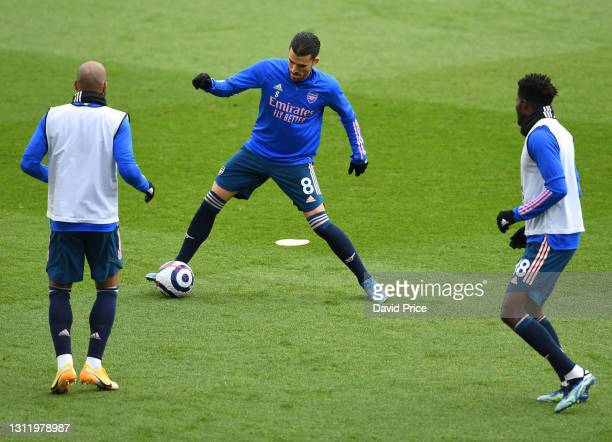 Dani Ceballos of Arsenal before the Premier League match between Sheffield United and Arsenal at Bramall Lane on April 11, 2021 in Sheffield, England.