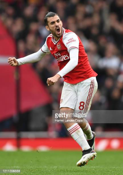 Dani Ceballos of Arsenal celebrates after his team's first goal during the Premier League match between Arsenal FC and West Ham United at Emirates...