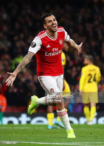 Dani Ceballos of Arsenal celebrates after scoring his team's fourth goal during the UEFA Europa League group F match between Arsenal FC and Standard...