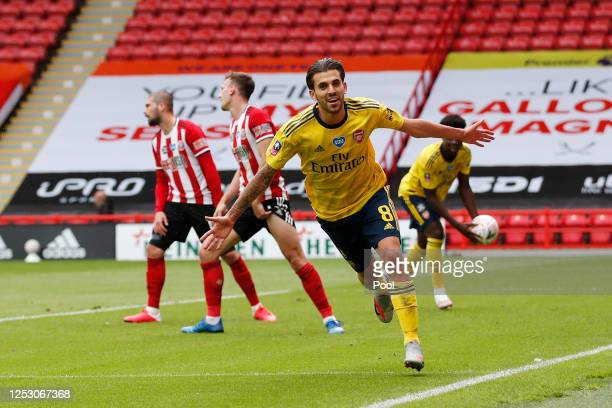 Dani Ceballos of Arsenal celebrates after scoring his teams second goal during the FA Cup Fifth Quarter Final match between Sheffield United and...