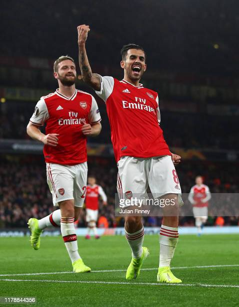 Dani Ceballos of Arsenal celebrates after scoring the fourth goal during the UEFA Europa League group F match between Arsenal FC and Standard Liege...