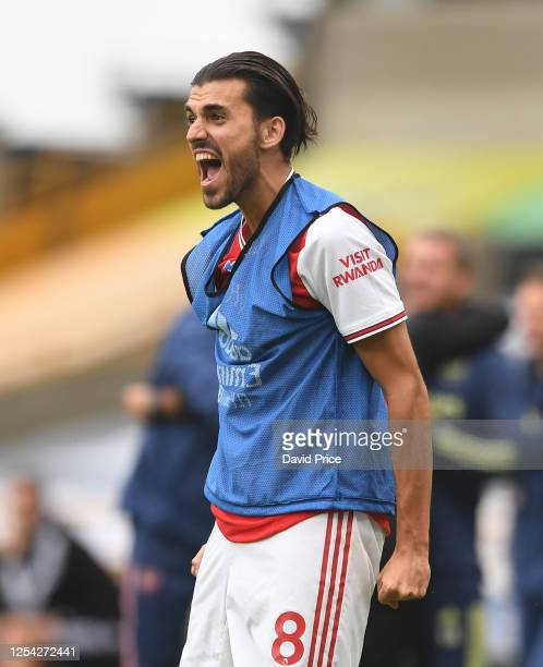 Dani Ceballos of Arsenal celebrates the 2nd goal during the Premier League match between Wolverhampton Wanderers and Arsenal FC at Molineux on July...