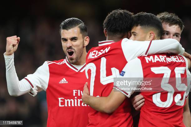 Dani Ceballos of Arsenal celebrates their 1st goal during the UEFA Europa League group F match between Arsenal FC and Standard Liege at Emirates...