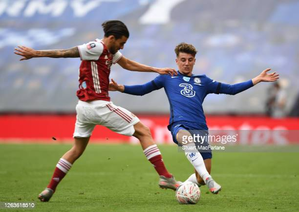 Dani Ceballos of Arsenal challenged by Mason Mount of Chelsea during the FA Cup Final match between Arsenal and Chelsea at Wembley Stadium on August...