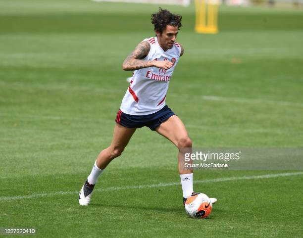 Dani Ceballos of Arsenal during a training session at London Colney on May 26 2020 in St Albans England