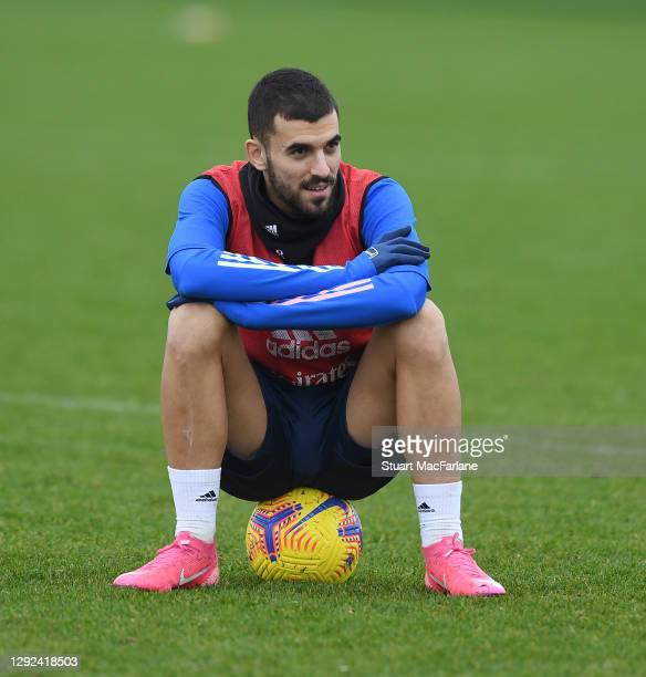 Dani Ceballos of Arsenal during a training session at London Colney on December 21, 2020 in St Albans, England.