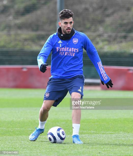 Dani Ceballos of Arsenal during a training session at London Colney on April 02, 2021 in St Albans, England.