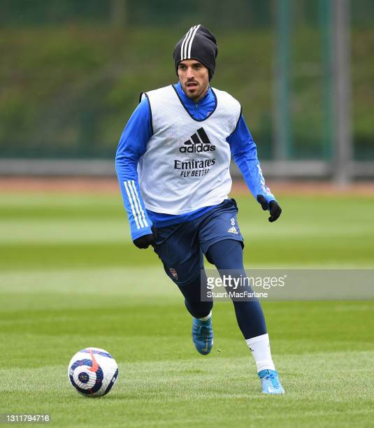 Dani Ceballos of Arsenal during a training session at London Colney on April 10, 2021 in St Albans, England.