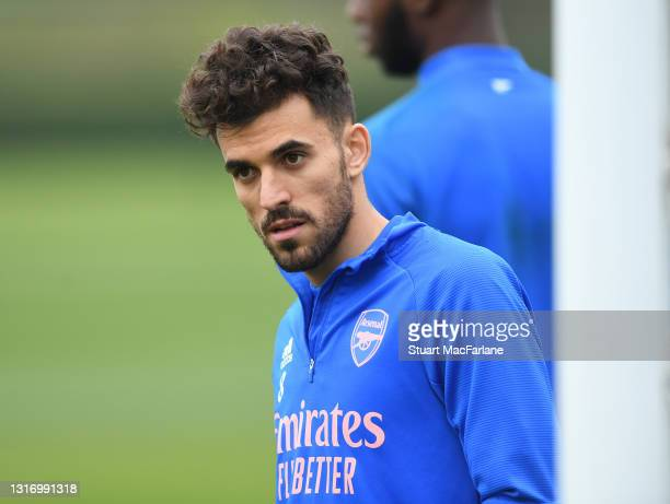 Dani Ceballos of Arsenal during a training session at London Colney on May 08, 2021 in St Albans, England.