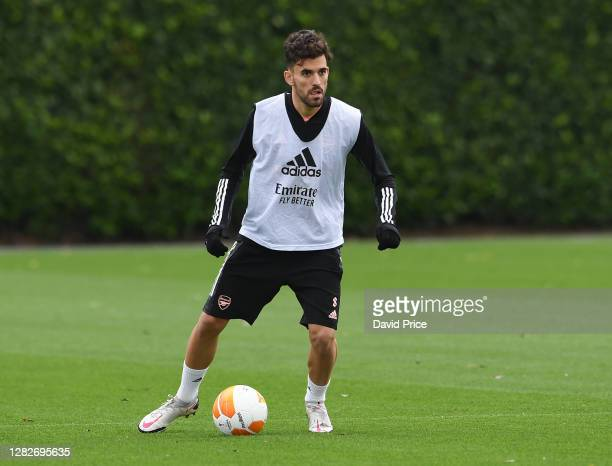 Dani Ceballos of Arsenal during the Arsenal training session ahead of the UEFA Europa League Group B stage match between Arsenal FC and Dundalk FC at...