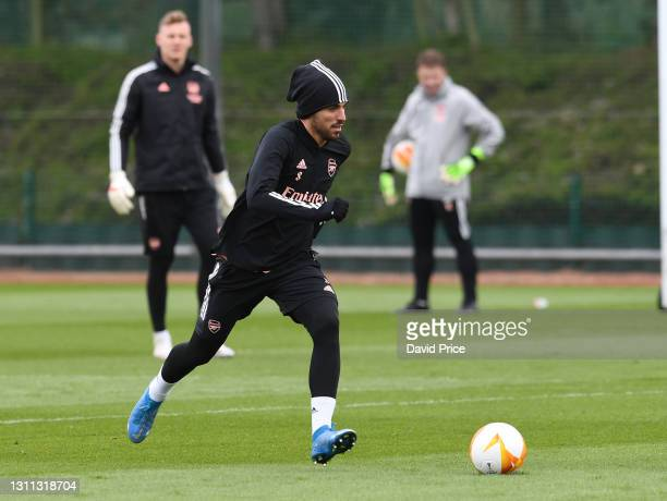 Dani Ceballos of Arsenal during the Arsenal training session at London Colney on April 07, 2021 in St Albans, England.