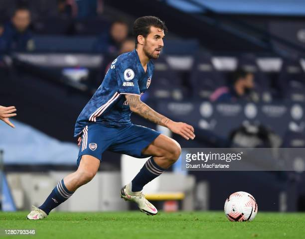Dani Ceballos of Arsenal during the Premier League match between Manchester City and Arsenal at Etihad Stadium on October 17 2020 in Manchester...