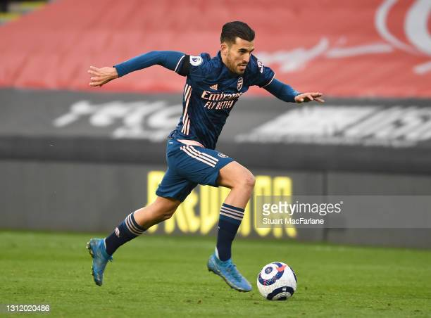 Dani Ceballos of Arsenal during the Premier League match between Sheffield United and Arsenal at Bramall Lane on April 11, 2021 in Sheffield,...