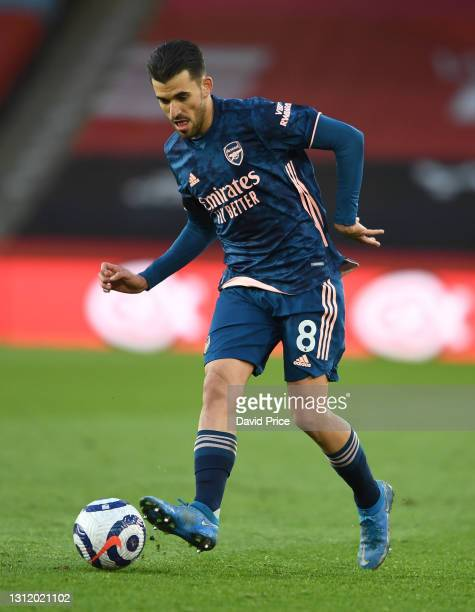 Dani Ceballos of Arsenal during the Premier League match between Sheffield United and Arsenal at Bramall Lane on April 11, 2021 in Sheffield, England.