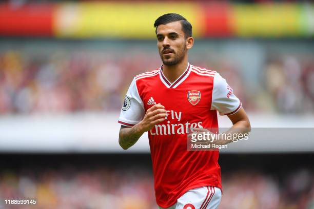 Dani Ceballos of Arsenal looks on during the Premier League match between Arsenal FC and Burnley FC at Emirates Stadium on August 17, 2019 in London,...
