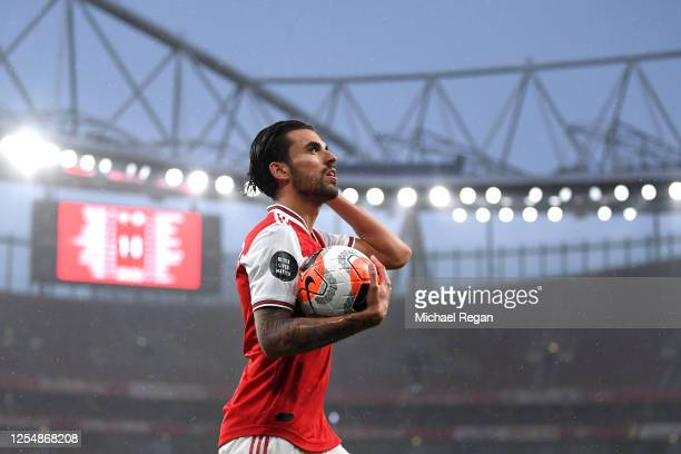 Dani Ceballos of Arsenal looks on during the Premier League match between Arsenal FC and Leicester City at Emirates Stadium on July 07, 2020 in...