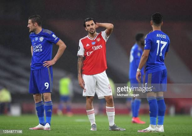 Dani Ceballos of Arsenal looks on during the Premier League match between Arsenal FC and Leicester City at Emirates Stadium on July 07 2020 in London...