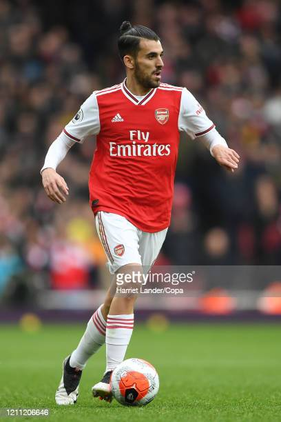 Dani Ceballos of Arsenal runs with the ball during the Premier League match between Arsenal FC and West Ham United at Emirates Stadium on March 07...