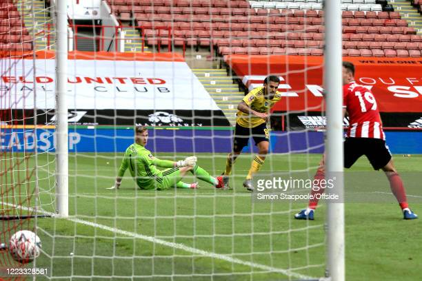 Dani Ceballos of Arsenal scores their 2nd goal during the FA Cup Fifth Quarter Final match between Sheffield United and Arsenal FC at Bramall Lane on...