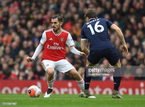 Dani Ceballos of Arsenal takes on David Noble of West Ham during the Premier League match between Arsenal FC and West Ham United at Emirates Stadium...