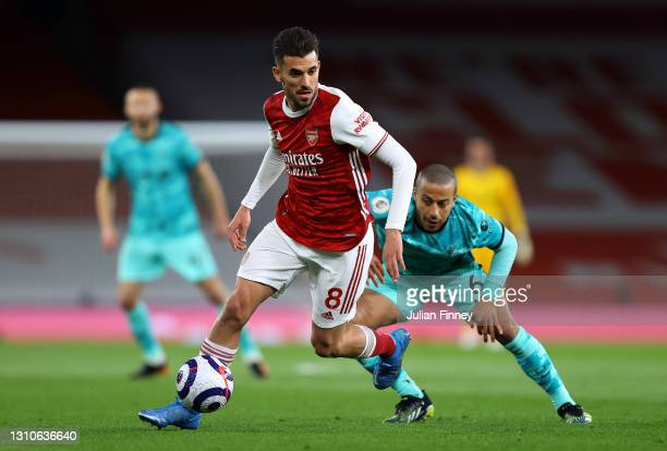 Dani Ceballos of Arsenal turns away from Thiago Alcantara of Liverpool during the Premier League match between Arsenal and Liverpool at Emirates...