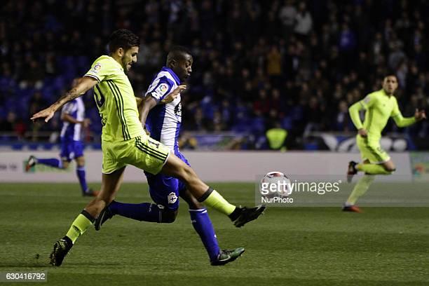 Dani Ceballos of Real Betis Balompie compete for the ball against Marlos Moreno of Deportivo de La Coruña during the spanish Copa del Rey match...