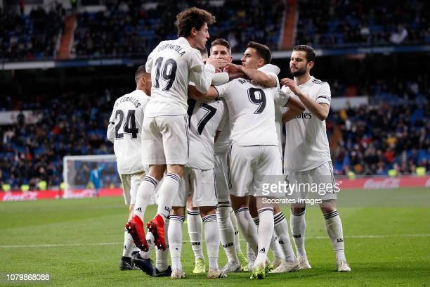 Dani Ceballos of Real Madrid Alvaro Odriozola of Real Madrid Lucas Vazquez of Real Madrid Karim Benzema of Real Madrid Nacho of Real Madrid celebrate...
