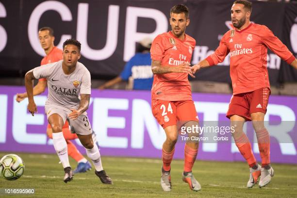 Dani Ceballos of Real Madrid and Dani Carvajal of Real Madrid in action during the Real Madrid vs AS Roma International Champions Cup match at...