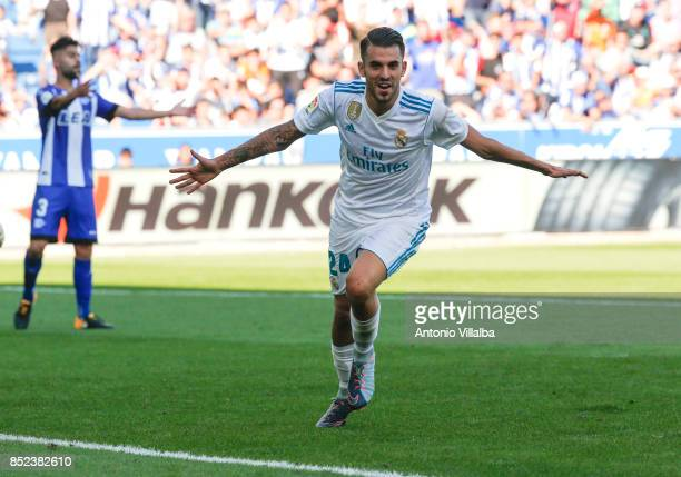 Dani Ceballos of Real Madrid celebrate a goal during the La Liga match between Deportivo Alaves and Real Madrid at Estadio de Mendizorroza on...
