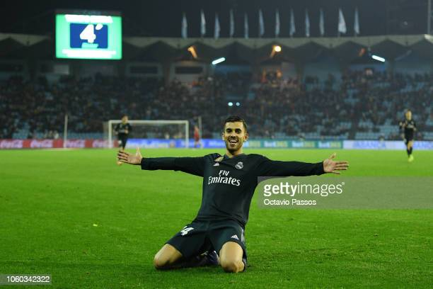 Dani Ceballos of Real Madrid celebrates after scores the fourth goal during the La Liga match between RC Celta de Vigo and Real Madrid CF at...