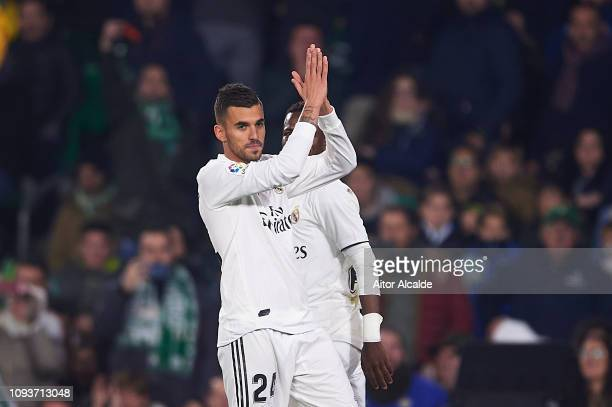 Dani Ceballos of Real Madrid CF celebrates after scoring during the La Liga match between Real Betis Balompie and Real Madrid CF at Estadio Benito...