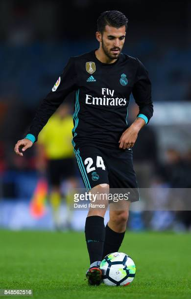 Dani Ceballos of Real Madrid CF runs with the ball during the La Liga match between Real Sociedad and Real Madrid at Anoeta stadium on September 17...
