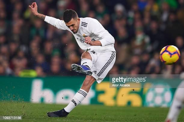 Dani Ceballos of Real Madrid CF shoots for score during the La Liga match between Real Betis Balompie and Real Madrid CF at Estadio Benito Villamarin...