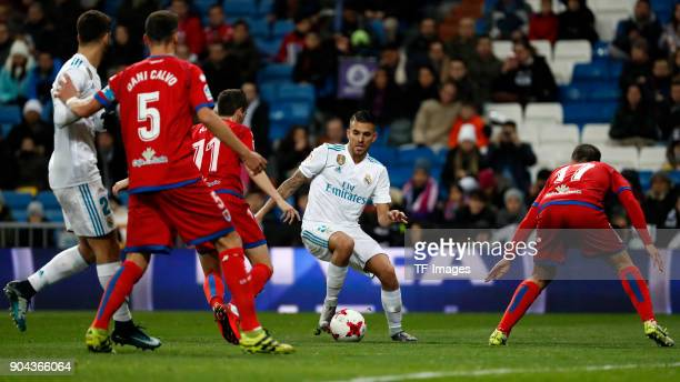 Dani Ceballos of Real Madrid controls the ball during the Spanish Copa del Rey match between Real Madrid and Numancia at Santiago Bernabeu on January...