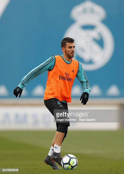 Dani Ceballos of Real Madrid in action during a training session at Valdebebas training ground on April 7 2018 in Madrid Spain