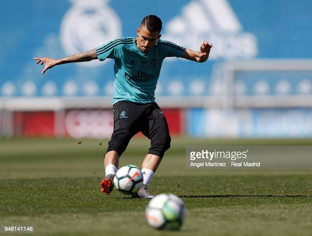 Dani Ceballos of Real Madrid in action during a training session at Valdebebas training ground on April 14 2018 in Madrid Spain