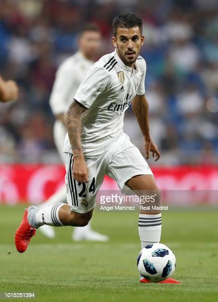 Dani Ceballos of Real Madrid in action during the Trofeo Santiago Bernabeu match between Real Madrid and AC Milan at Estadio Santiago Bernabeu on...