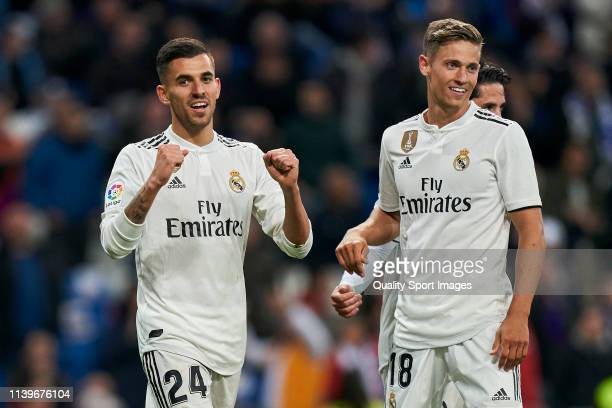 Dani Ceballos of Real Madrid of Real Madrid celebrates a goal with Karim Benzema of frame during the La Liga match between Real Madrid CF and SD...