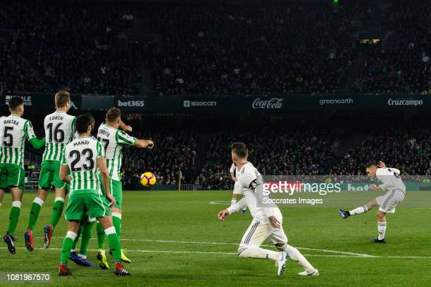 Dani Ceballos of Real Madrid, scores the third goal to make it 1-2 during the La Liga Santander match between Real Betis Sevilla v Real Madrid at the...