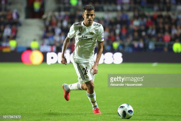 Dani Ceballos of Real runs with the ball during the UEFA Super Cup between Real Madrid and Atletico Madrid at Lillekula Stadium on August 15 2018 in...