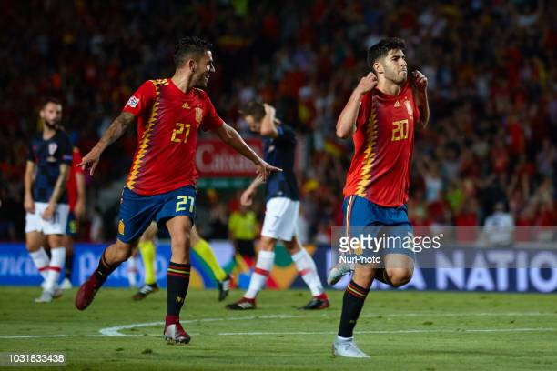 Dani Ceballos of Spain and Marco Asensio of Spain celebrates after scoring during the UEFA Nations League football match between Spain and Croatia at...