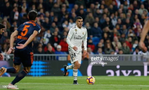 Dani Ceballos seen in action during the La Liga match between Real Madrid and Valencia CF at the Estadio Santiago Bernabéu in Madrid. .