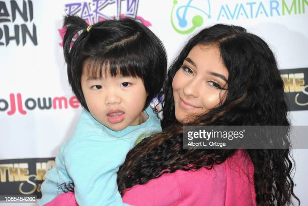 Dani Cohn poses with a young fan at Danielle Cohn's Music Video Release Party For Lights Camera Action held at Starwest Studios on January 19 2019 in...