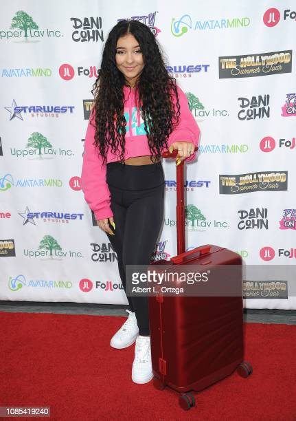 Dani Cohn poses with Followme luggage at Danielle Cohn's Music Video Release Party For Lights Camera Action held at Starwest Studios on January 19...