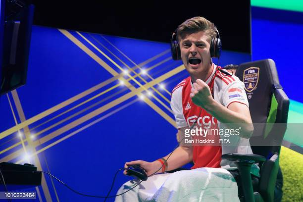 Dani 'Dani' Hagebeuk of Netherlands celebrates during the group stages of the FIFA eWorld Cup Grand Final 2018 on August 3, 2018 in London, England.