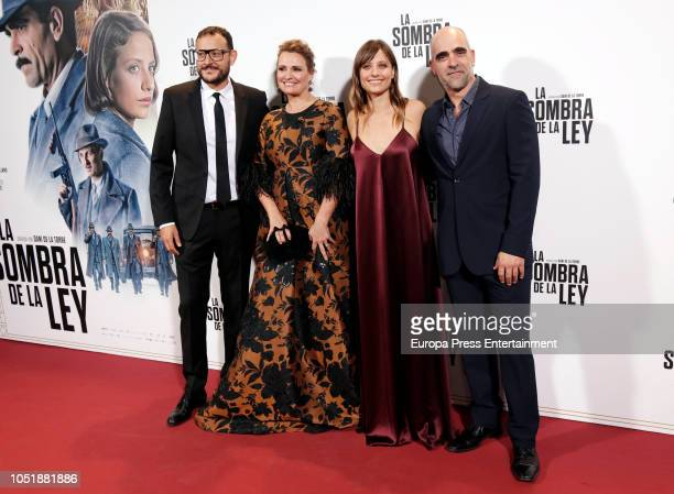 Dani de la Torre Ainhoa Arteta Michelle Jener and Luis Tosar attends the 'La sombra de la ley' premiere at Capitol Cinema on October 10 2018 in...