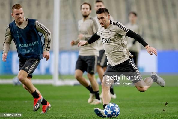 Dani De Wit Of Ajax, Dusan Tadic Of Ajax During The